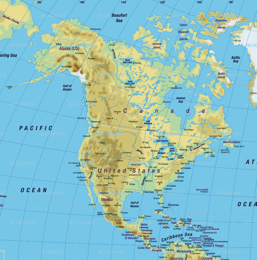 Cartina Politica America Settentrionale.Cartina Politica Muta America Settentrionale
