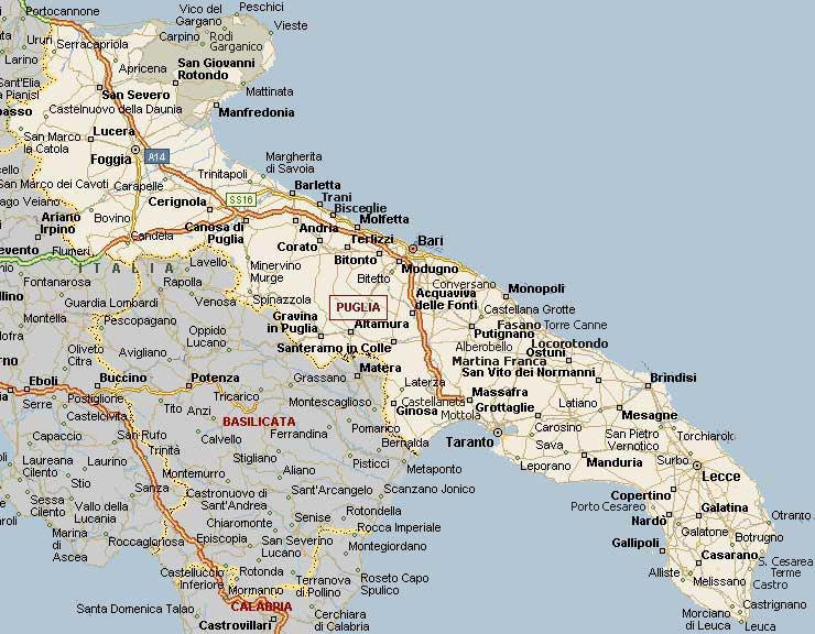 Cartina geografica della puglia - mappa - carta - stradario