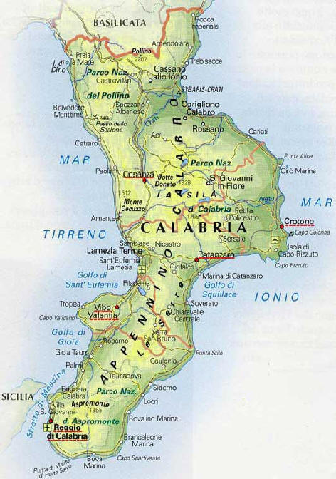 Cartina Stradale Del Trentino Alto Adige.Cartina Carta Geografica Della Calabria Sud Italia Stradario Mappa
