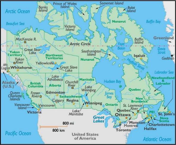Cartina Geografica Del Canada Carta Mappa