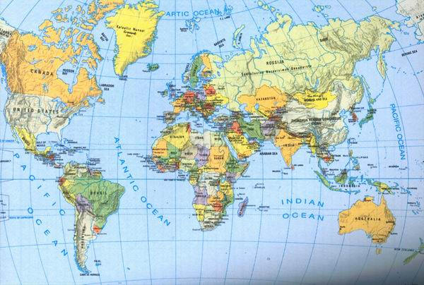 Cartina Muta Mondo Fisica.Oceano Atlantico Cartina Fisica