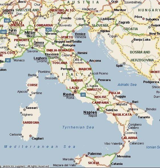 Cartina Dell Italia Turistica.Cartina Geografica Dell Italia Carta Mappa
