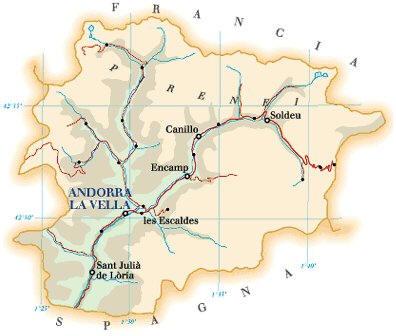 Cartina Geografica dell'Andorra - Carta - Mappa
