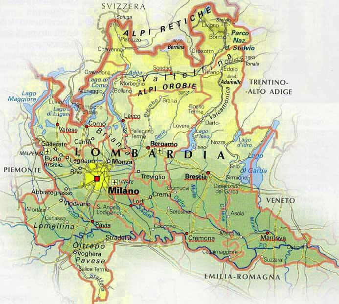 Cartina geografica della lombardia - mappa - carta - stradario