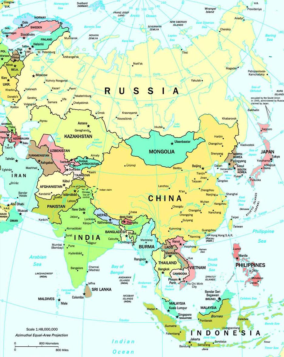 La Cartina Geografica Dell Asia.Cartina Dell Asia Carta Mappa