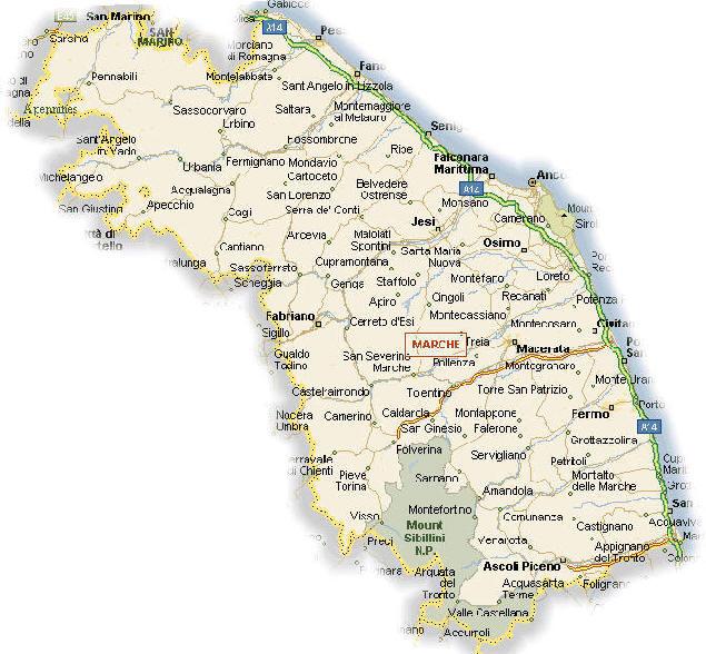 Cartina Stradale Di Italia.Cartina Geografica Delle Marche Stradario Mappa